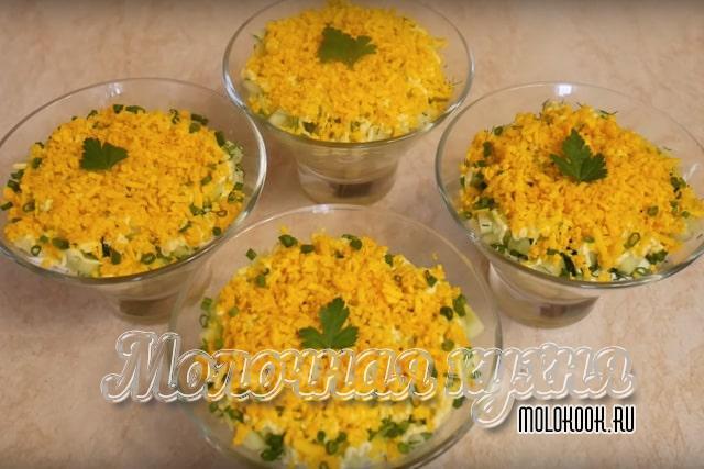 Рецепт классического салата с тресковой печенью