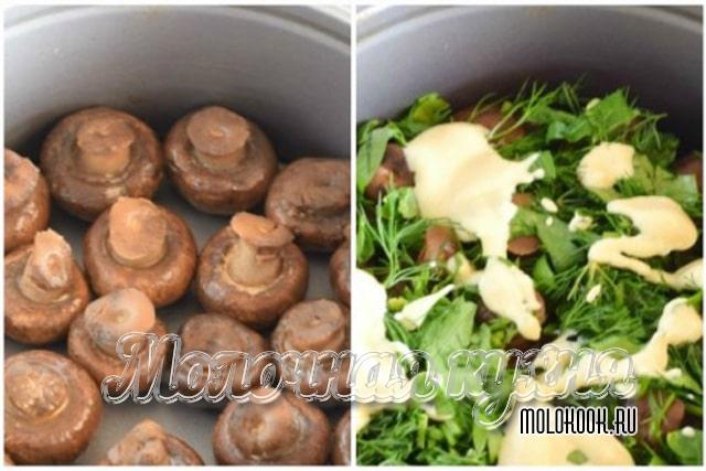 Прослойка зелени и грибов