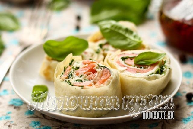 Вариант закуски с творожным сыром
