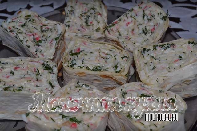 Рецепт с сыроно-крабовой начинкой