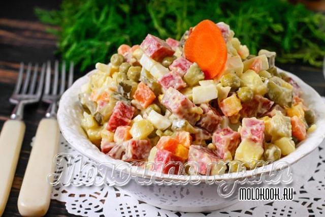Рецепт Оливье с копченой колбасой