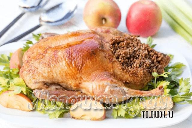 Рецепт утки с гречнево-грибным гарниром