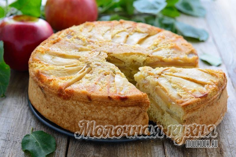 Шарлотка с яблоками, выпеченная в духовке - пышная и вкусная