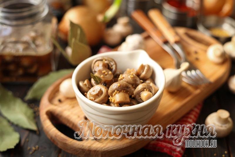 Маринованные шампиньоны в домашних условиях - быстрый рецепт приготовления