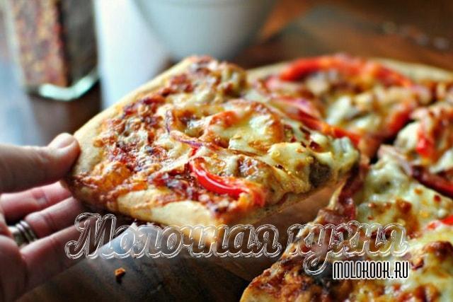 Бездрожжевое тесто на кефире для мягкой тонкой пиццы