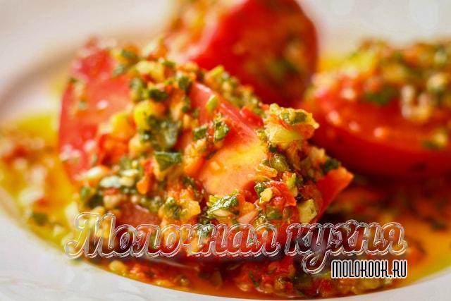 Резаные корейские помидоры