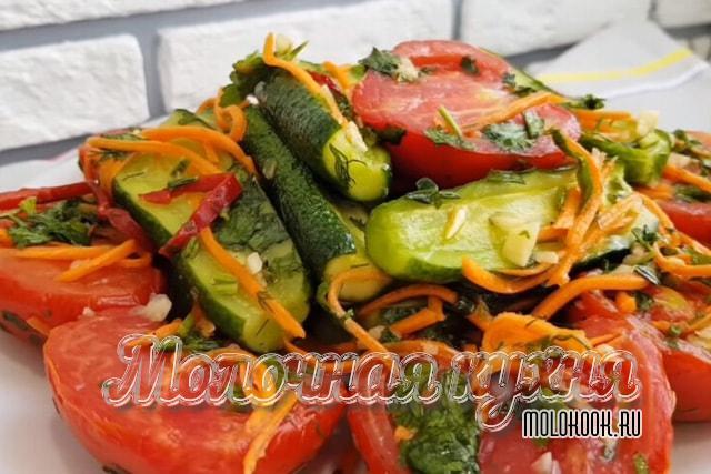 Овощной помидорно-огуречный корейский салат