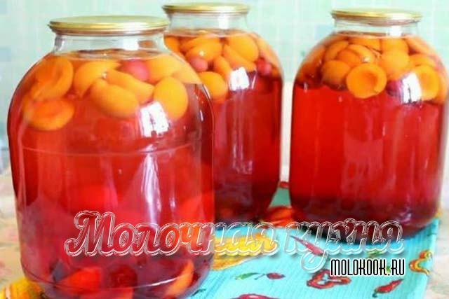Рецепт заготовки вишневого компота с малиной и абрикосом