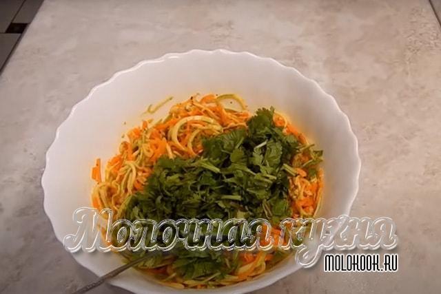 Зелень порублена и добавлена в блюдо