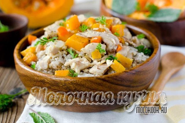 Рецепт тыквенно-мясной пшеничной каши