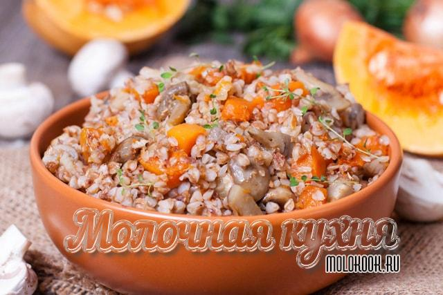 Гречневая каша с добавлением овощей и шампиньонов