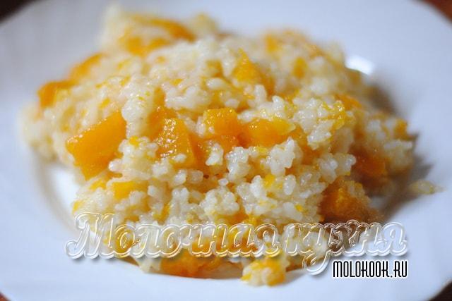 Каша из риса с тыквой на молоке