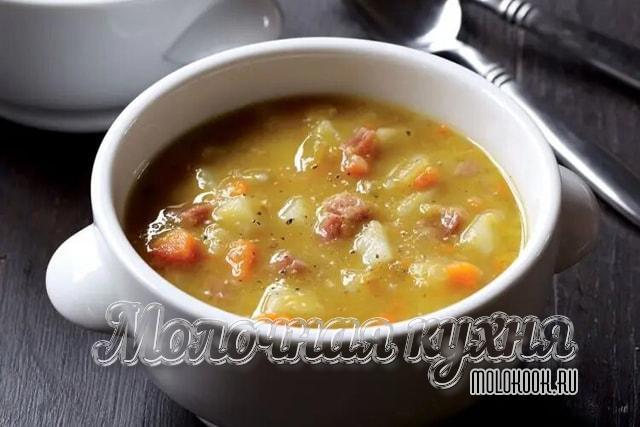 Горохово-чечевичный суп с колбасой