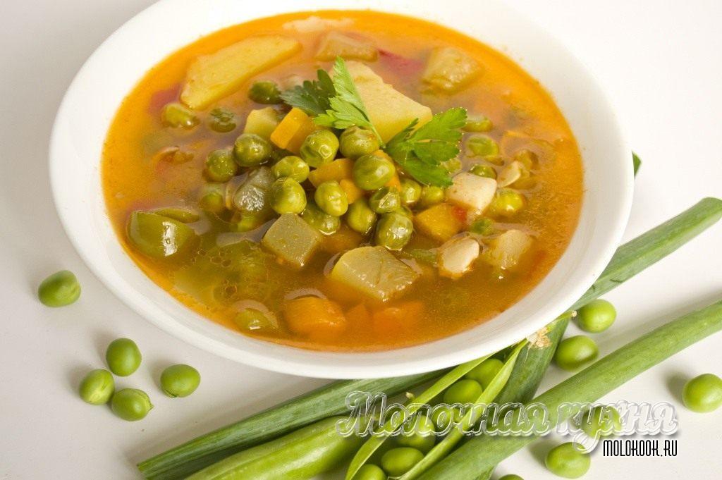 Суп из свежего молодого гороха