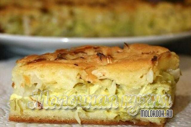 Пирог со свежей капустой из жидкого теста