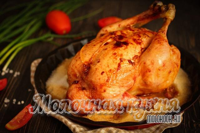 Запеченная курица целиком на соли