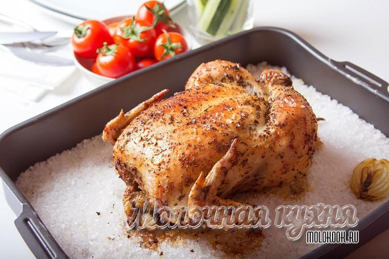 Рецепт запеченной курицы на поваренной соли