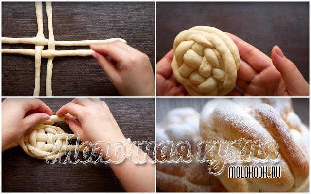 Круговое плетение булочек