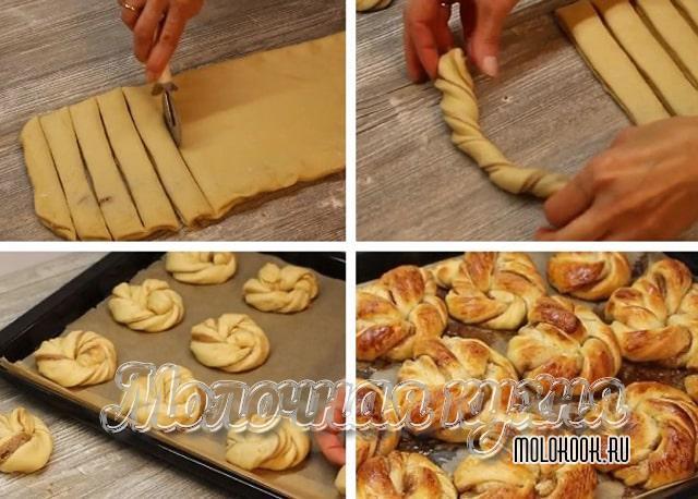 Скручивание теста для булочек в виде веночков
